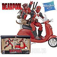 Большой набор фигурок Дэдпул на скутере с собакой Deadpool Hasbro E4702