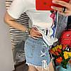 Футболка котоновая с модным принтом.  Размер:  42-44.Цвет: белый (6299), фото 5