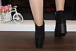 Ботильоны женские черные на каблуке натуральная замша код Д580, фото 7
