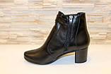 Ботиночки женские черные натуральная кожа на удобном каблуке код Д581, фото 2