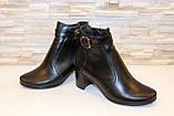 Ботиночки женские черные натуральная кожа на удобном каблуке код Д581, фото 4