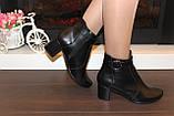 Ботиночки женские черные натуральная кожа на удобном каблуке код Д581, фото 5
