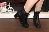 Ботиночки женские черные натуральная кожа на удобном каблуке код Д581, фото 6
