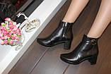 Ботиночки женские черные натуральная кожа на удобном каблуке код Д581, фото 7