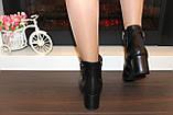 Ботиночки женские черные натуральная кожа на удобном каблуке код Д581, фото 8