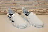 Слипоны женские белые с вышивкой Сакура код Т225, фото 3
