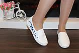 Слипоны женские белые с вышивкой Сакура код Т225, фото 5