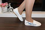 Слипоны женские белые с вышивкой Сакура код Т225, фото 6