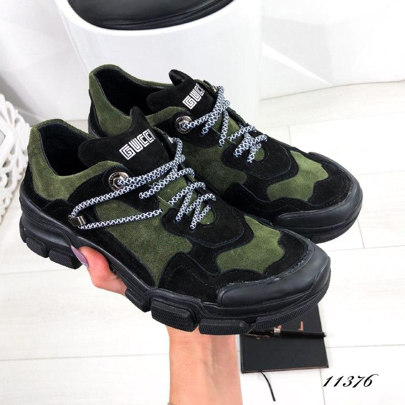 Женские замшевые кроссовки Guchi