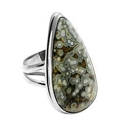 Кольцо из серебра с натуральной океанической яшмой, 28*16 мм., серебро 925, 1643КЦЯ