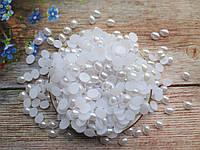 """Полубусины перламутровые, """"Овал"""" 10х8 мм, цвет белый, 10 грамм ( ~60 шт)."""