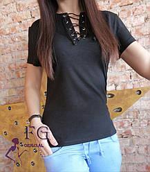 """Стильная легкая женская футболка с люверсами и шнуровкой на груди """"Device"""" черная"""