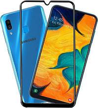 Защитное стекло Full Glue для Samsung A30 2019 (A305F), чёрное