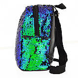 """Рюкзак трендовый, молодежный с паетками YES """" Green Sequins """" ( 557653 ), фото 3"""