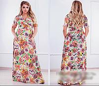 Летнее платье длинное с цветочным принтом, 50-64 размер, фото 1