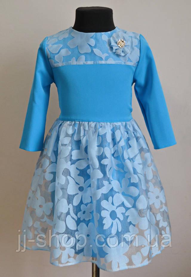 Детское платье голубого цвета