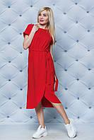 Летнее трикотажное платье с поясом красное, фото 1