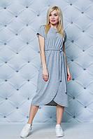 Летнее трикотажное платье с поясом меланж, фото 1