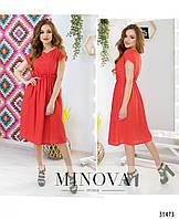 61aff03d1aafe02 Свободное красное летнее платье с завышенной талией №5017.18, размер  44,46,48