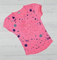 Детская футболка для девочек 3,4,5,6,7 лет (объемный рисунок) ярко розовый