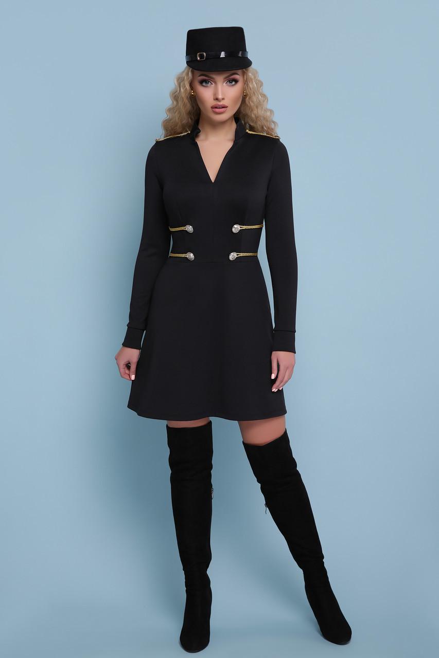Женское  короткое платье с оригинальной отделкой на талии Ника д/р черное