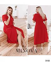 Красивое красное летнее платье–халат большого размера с контрастной окантовкой №567, размер 48-50, 56-58