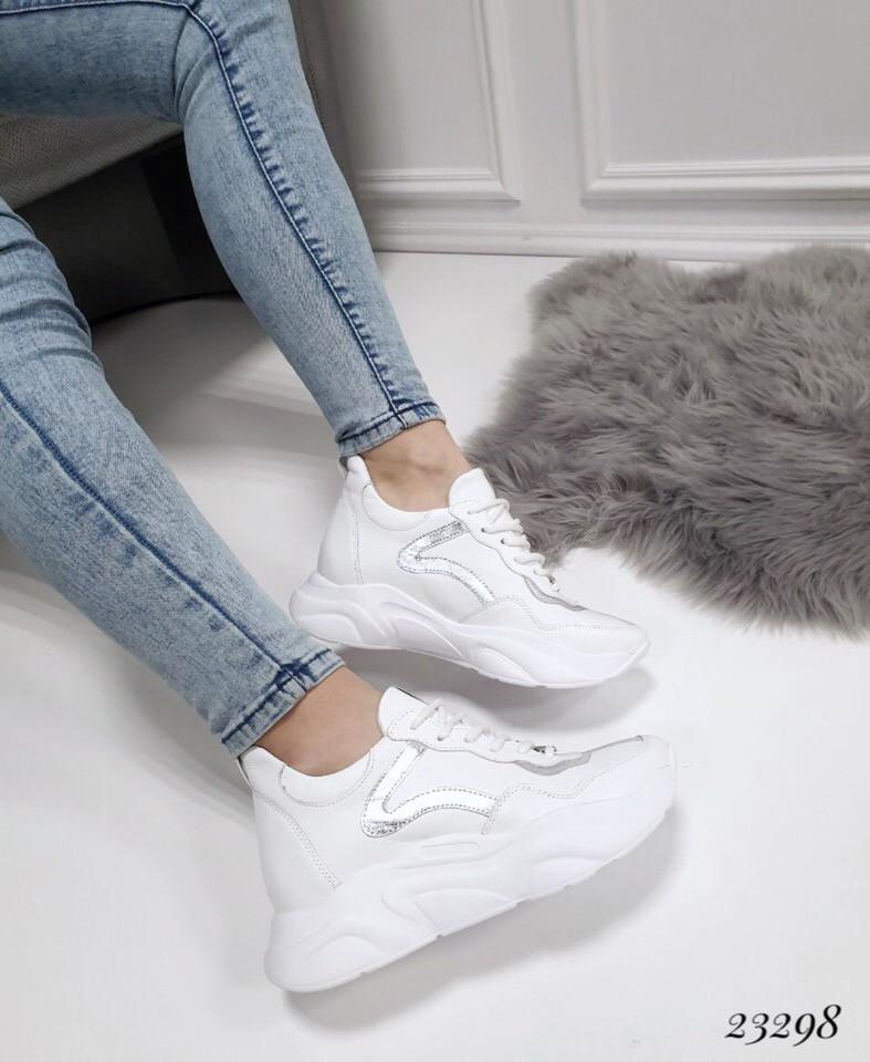 Кроссовки Balenciaga белые с серебром. Натуральная кожа. Аналог