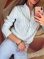 Женская блузка в полоску с длинным рукавом на 2х кнопках, софт, черный , розовый, голубой, красный, рр  42-46