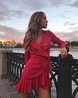 Женское летнее легкое платье на запах с поясом и рюшами, софт, красный, чёрный, белый рр 42-46, фото 1