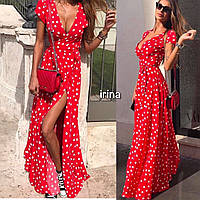 Женское летнее длинное платье на запах с поясом в горошек, софт, красный, чёрный, белый пудра рр 42-44, 46-48