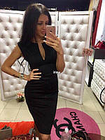 Женское приталенное коктейльное платье с вырезом с коротким рукавом Красный, чёрный, электрик, 42-44, 44-46 , фото 1