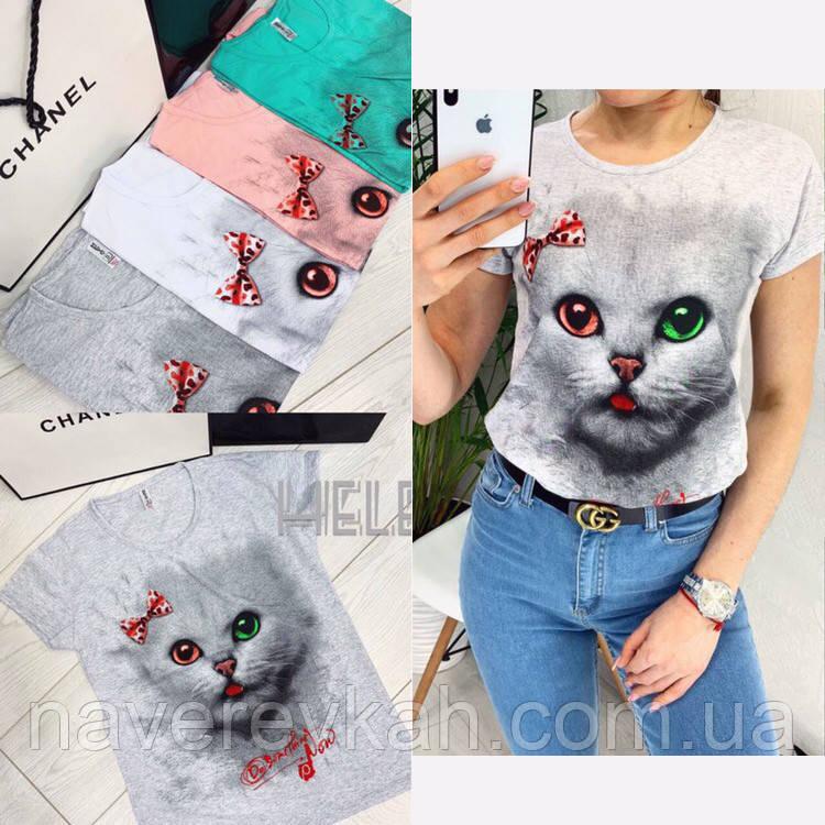 Женская футболка с кошечкой белый серый пудра мята 42 44 46