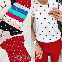 Женская футболка с сердечками белый серый чёрный мята электрик пудра малина красный 42 44 46, фото 1