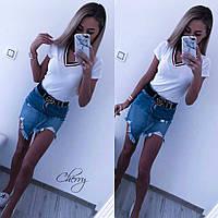Женская летняя футболка с мысиком, с вискозы чёрный, белый 42-46