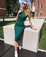 Женское классическое облегающее платье без рукавов 42-44, 44-46 Голубой, красный, чёрный, бордо, бутылка, мокк, фото 1