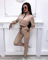Женский спортивный костюм с с укороченной кофтой, жёлтый, беж, белый, чёрный, красный, 42, 44, 46, фото 1