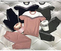 Женский модный прогулочный костюм с коротким рукавом,двунитка+ люрекс,чёрный, графит, розовый  42, 44, 46