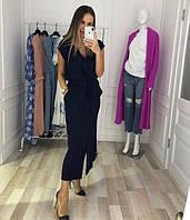Женское летнее длинное платье на поясе с карманами, лен,джинсовый, персик, черный, 42 44 46, фото 1