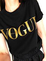 Женская летняя футболка Вог с порезами, белый черный красный 42-46, фото 1