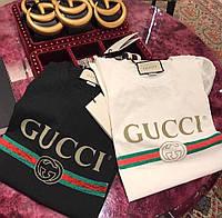 Женская летняя футболка Гучи ,трикотаж х.б черный, белый , розовый  42-46, фото 1