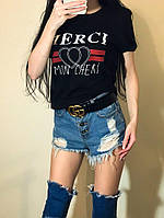 Женская летняя футболка MERCI ,черный, белый, 42-46 , фото 1