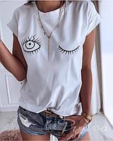 Женская летняя футболка Глазки с отворотами ,черный, бледно-розовый, черный, 42-46 , фото 1