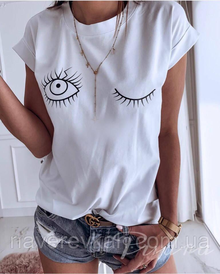 Женская летняя футболка Глазки с отворотами ,черный, бледно-розовый, черный, 42-46