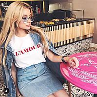 Женская летняя футболка Любовь с отворотами ,черный, бледно-розовый, черный, 42-46 , фото 1