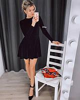 Женскоекорткое бархатное платье с длинным рукавом Бордо, чёрный и бутылка 42 -44,  44-46, фото 1