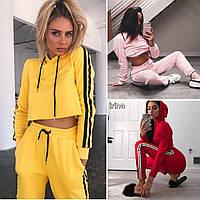 Женский стильный спортивный костюм с полосками,Чёрный, бордо, электрик, красный, жёлтый, розовы 42-44 44-46, фото 1