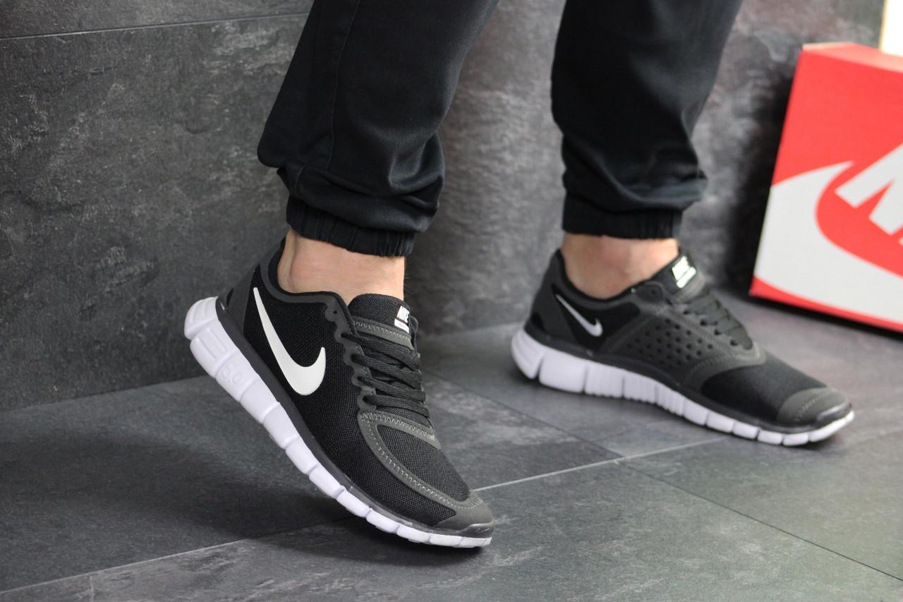 Мужские кроссовки Nike Free Run 5.0 (черно-серые с белым)
