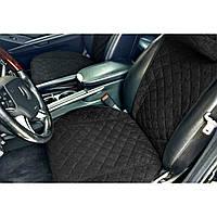 Чехлы-накидки на передние сиденья авто широкие  черные под алькантаре