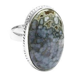 Кольцо из серебра с натуральной океанической яшмой, 28*16 мм., серебро 925, 1644КЦЯ