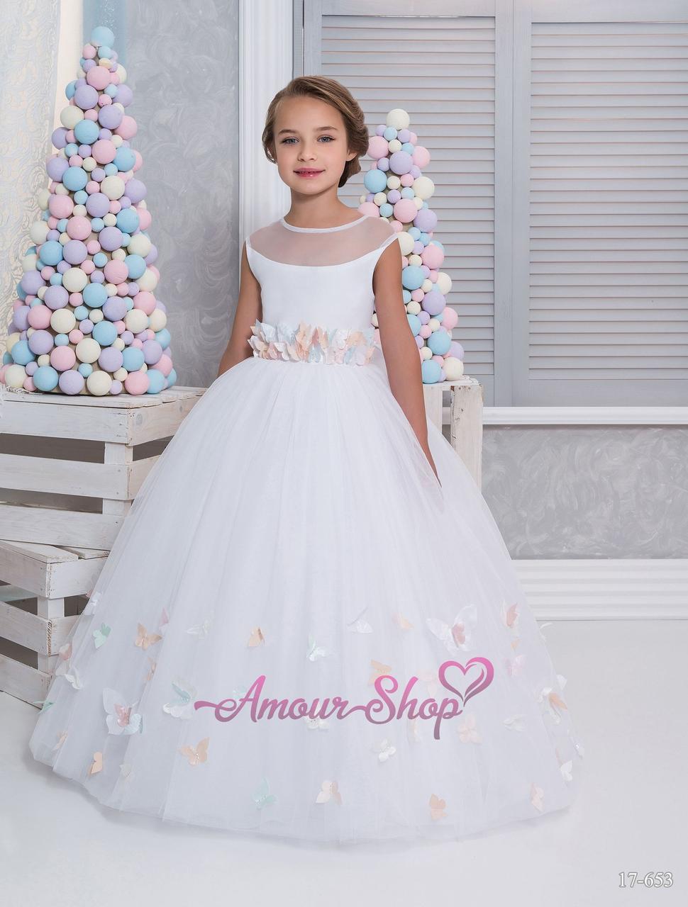 Белое пышное детское платье с бабочками